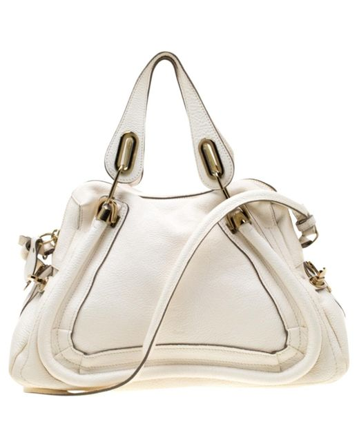 Chloé Paraty White Leather Handbag