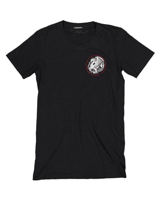 T-Shirt in cotone nero di Balmain in Black da Uomo