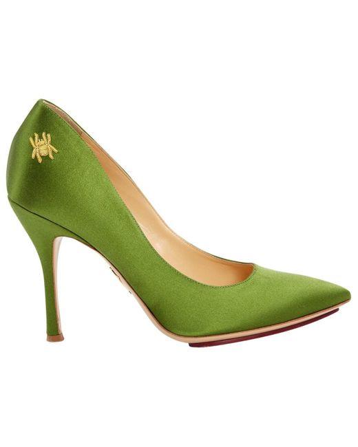 Escarpins en Toile Vert Charlotte Olympia en coloris Green
