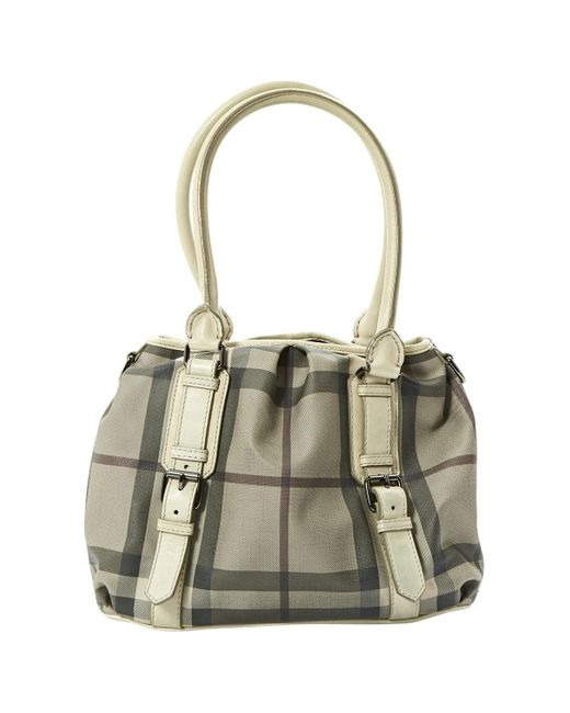Burberry Gray Grey Cloth Handbag