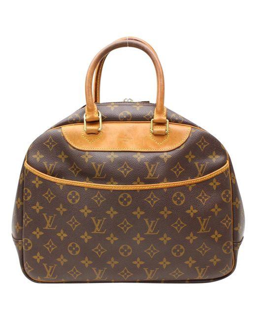 Louis Vuitton - Brown Pre-owned Deauville Cloth Handbag - Lyst