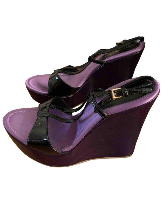 Gianvito Rossi Sandalias en cuero violeta de mujer