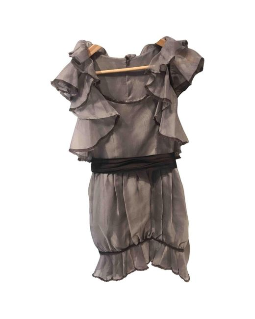 Chanel Gray Grey Silk Dress