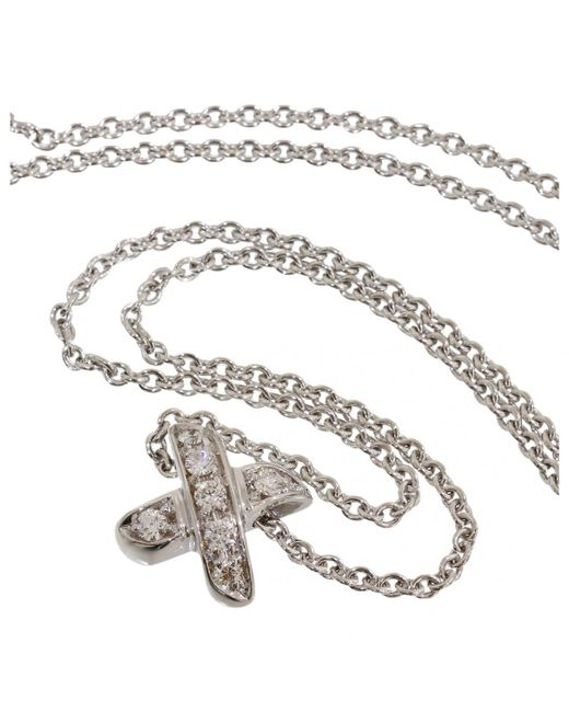 Tiffany & Co - Pre-owned White White Gold Necklaces - Lyst