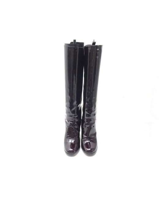 Chanel Black Lackleder Stiefel