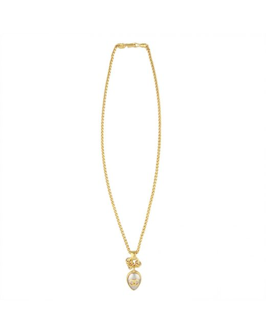 Chanel - Metallic Vintage Gold Metal Necklace - Lyst