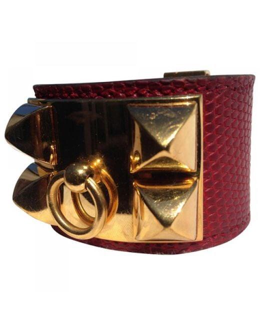 Hermès | Pre-owned Red Exotic Leathers Bracelet Medor | Lyst