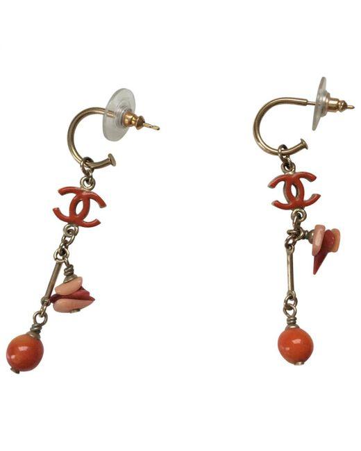 Chanel - Orange Metal Earrings - Lyst