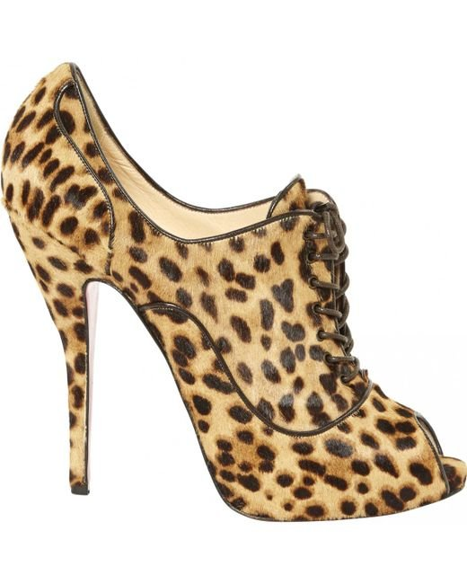 Christian Louboutin | Natural Pre-owned Pony-style Calfskin Heels | Lyst