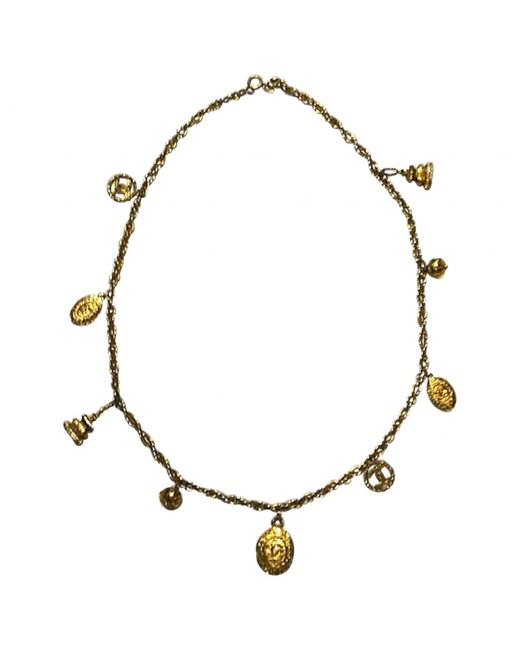 Chanel - Metallic Vintage Gold Metal Long Necklace - Lyst
