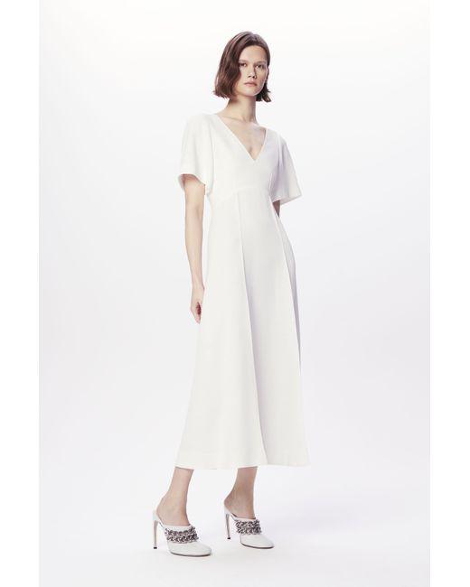 Victoria Beckham Short Sleeve V-neck Midi Dress In White