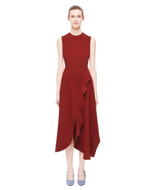 Victoria Beckham - Red Asymmetric Ruffle Dress - Lyst
