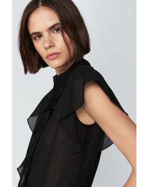Victoria Beckham - Black Flute Sleeve Shirt - Lyst