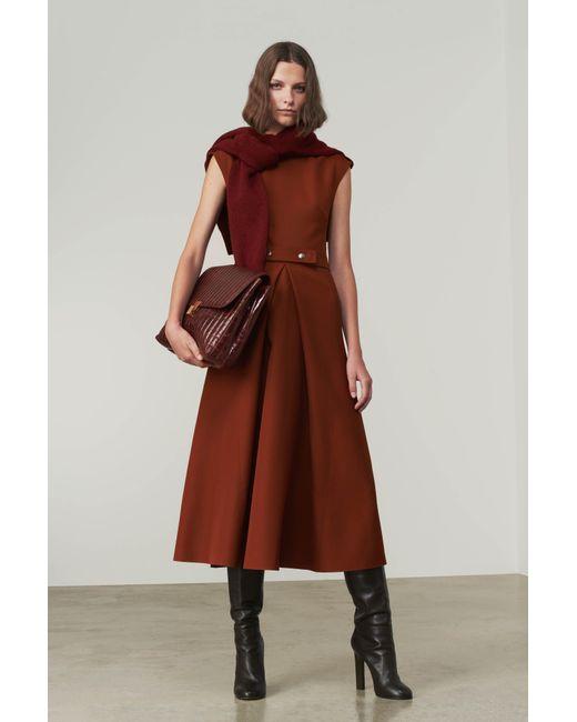 Victoria Beckham - Brown Belted Midi Dress - Lyst