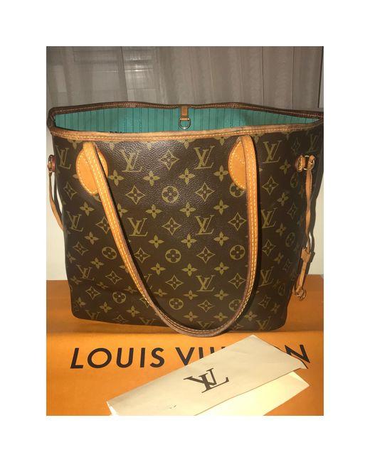 Sac en bandoulière en cuir cuir Neverfull marron Louis Vuitton en coloris Brown