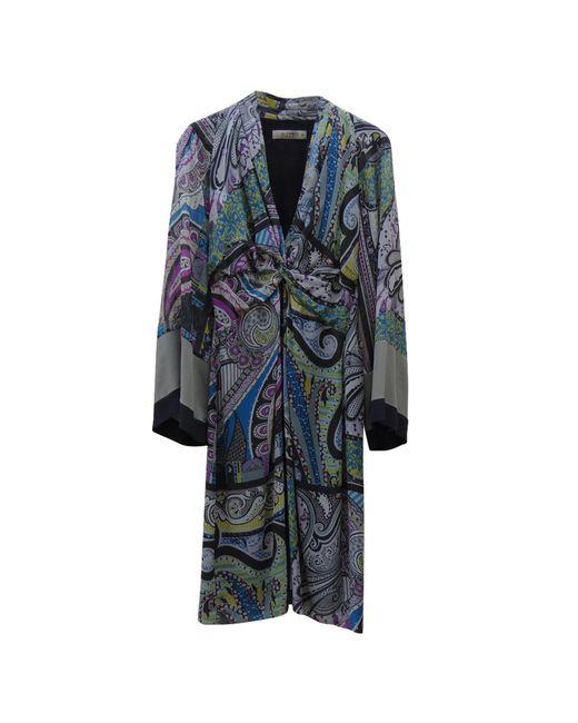 Etro Robe mi-longue soie multicolore femme kfJS4