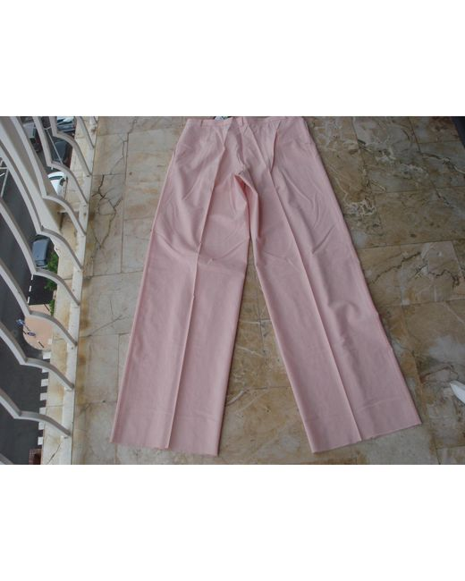 Christian Lacroix Pantalon droit laine rose femme