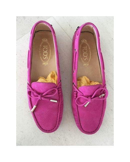 Mocassins daim rose Tod's en coloris Pink