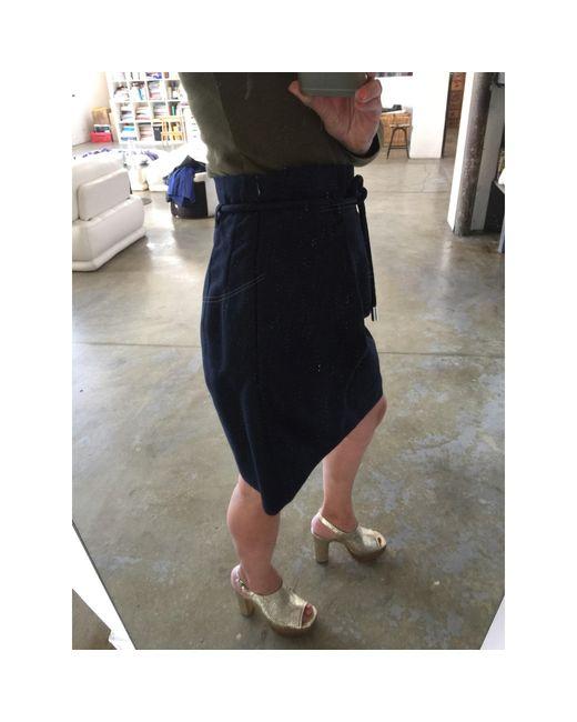 Jupe courte coton bleu Claudie Pierlot en coloris Blue