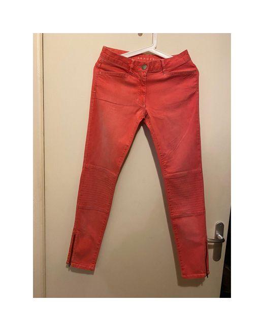 Pantalon slim, cigarette coton rose Sandro en coloris Pink