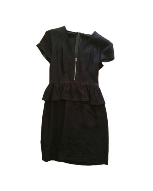Robe courte polyester noir Sandro en coloris Black