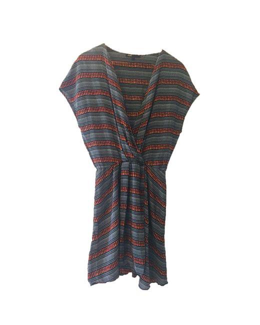 Robe courte soie multicolore Maje