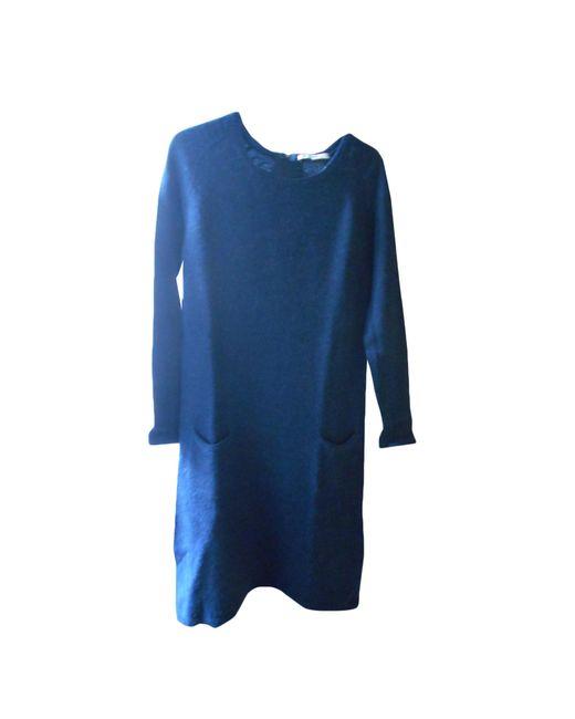 Gerard Darel Robe Mi Longue Acrylique Bleu Femme
