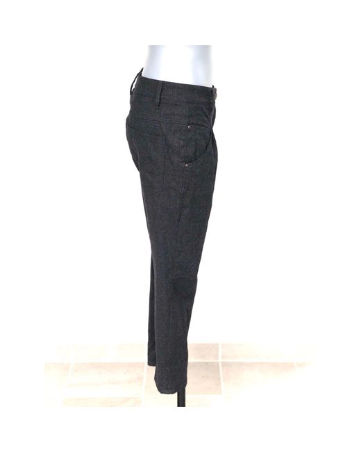 Brunello Cucinelli Pantalon droit laine gris femme