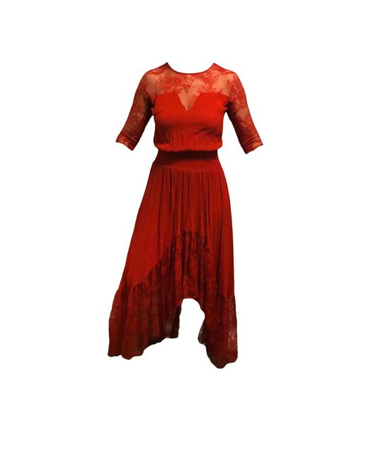 Robe longue dentelle autre Maje en coloris Red