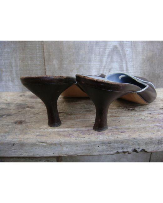 Mules cuir marron Ferragamo en coloris Brown