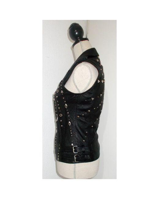 Veste en cuir cuir noir IRO en coloris Black
