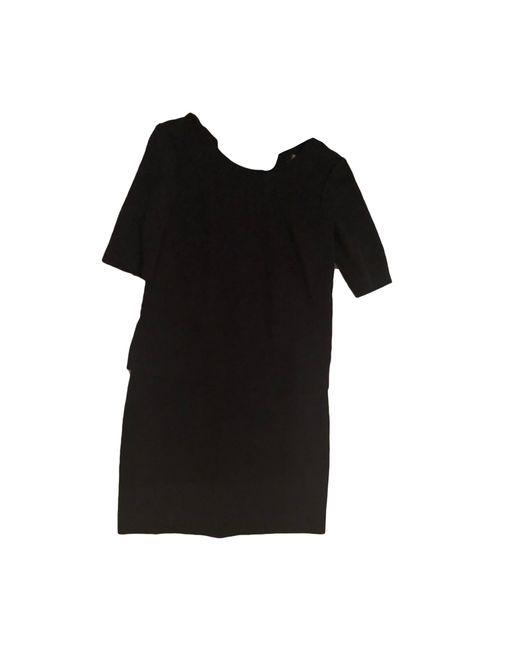 Robe mi-longue coton noir Sandro en coloris Black