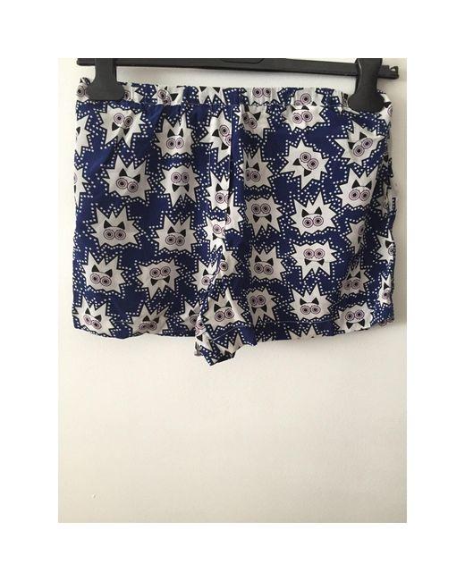 Short soie bleu Sandro en coloris Blue