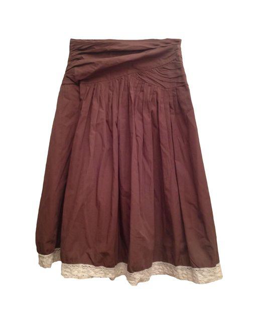 Jupe longue coton marron Maje en coloris Brown