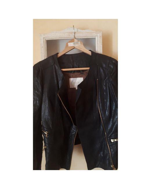 Veste en cuir cuir noir Maje en coloris Black