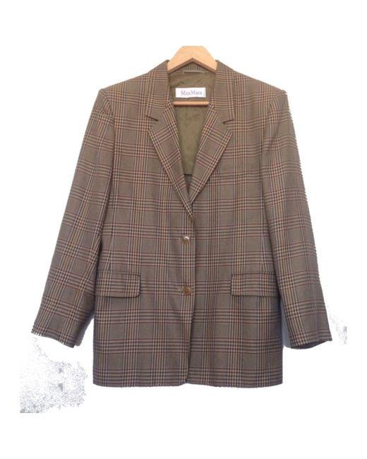 Blazer, veste tailleur coton beige Max Mara en coloris Natural
