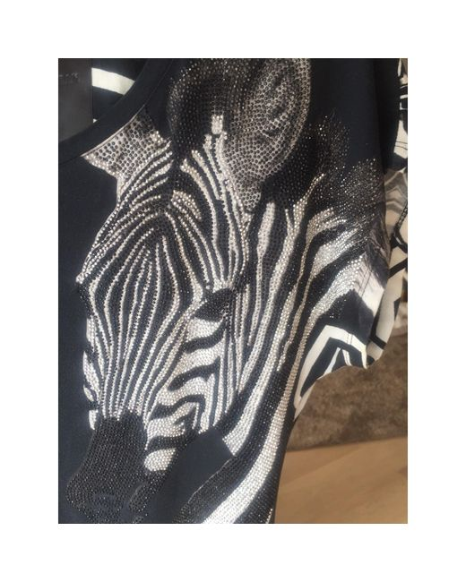 Robe mi-longue coton noir Philipp Plein en coloris Black