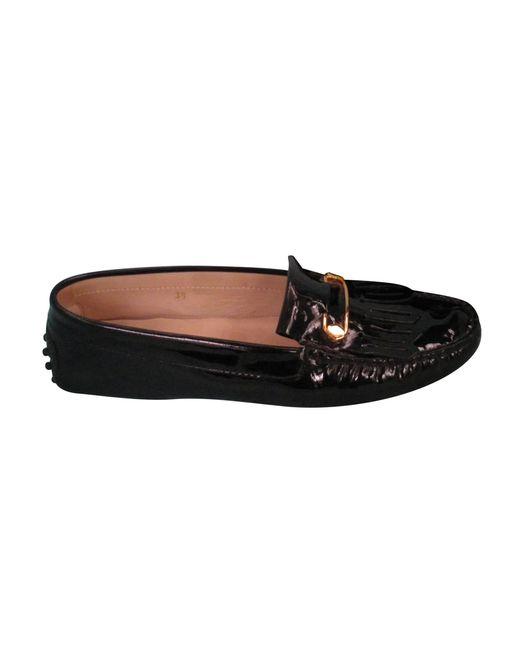 Ballerines cuir verni noir Tod's en coloris Black
