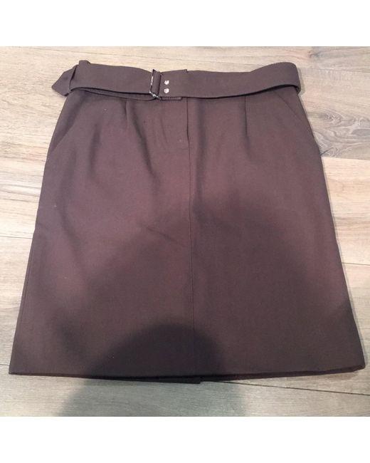 Jupe mi-longue laine marron Louis Vuitton en coloris Brown