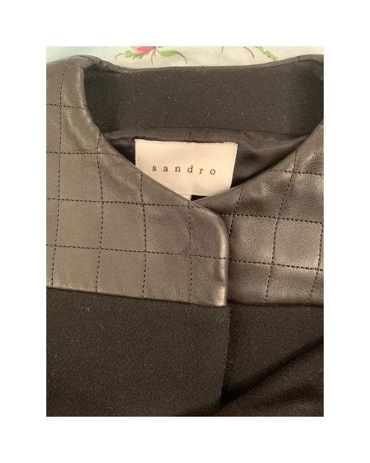 Manteau laine noir Sandro en coloris Black
