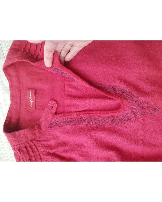 Robe kaftan, djellaba feutre rouge Zadig & Voltaire en coloris Red