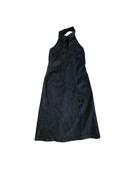 Burberry Robe longue coton bleu femme Vy5eY