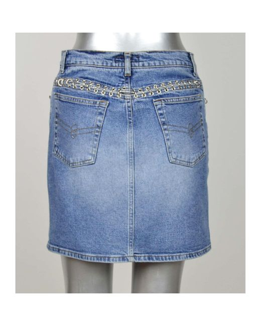 Jupe en jean coton bleu Blumarine en coloris Blue