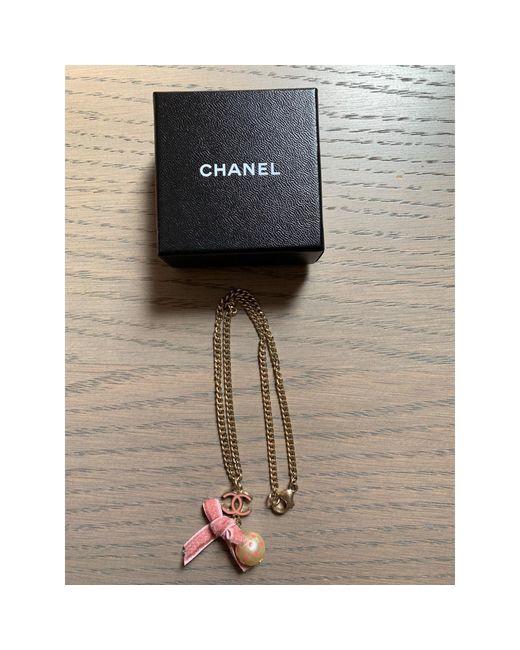 Collier acier doré Chanel en coloris Metallic
