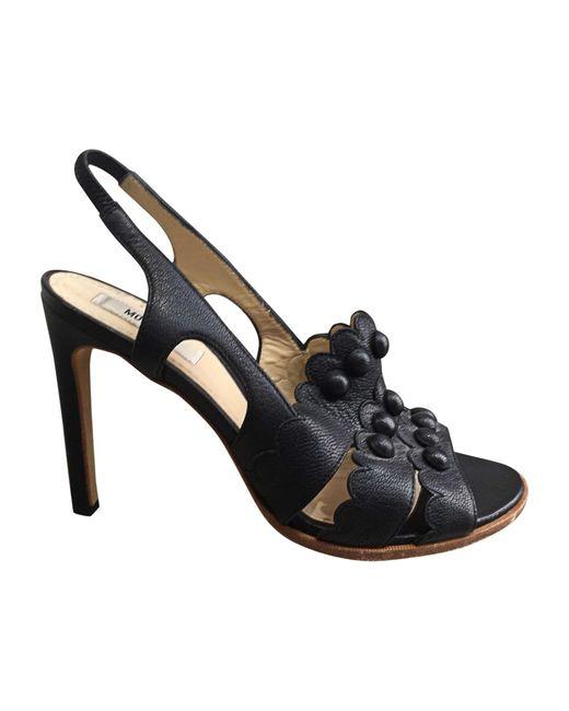 Sandales à talons cuir noir Moschino en coloris Black