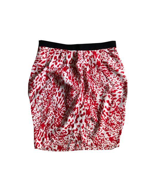Maje Jupe courte polyester autre femme de coloris rouge trzQz