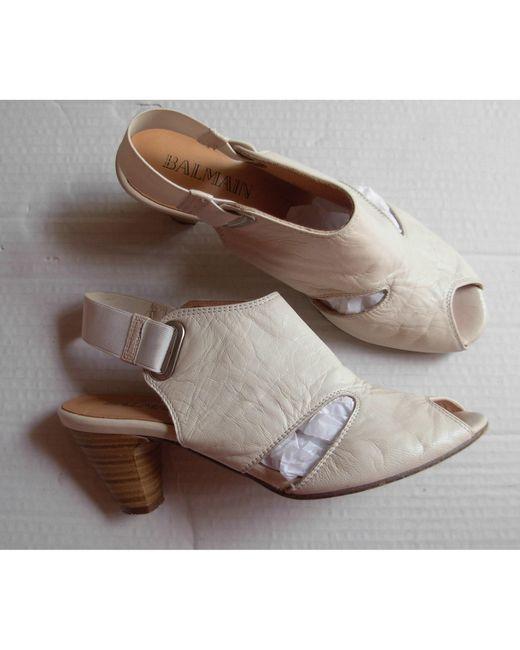 Sandales à talons cuir blanc Balmain en coloris White