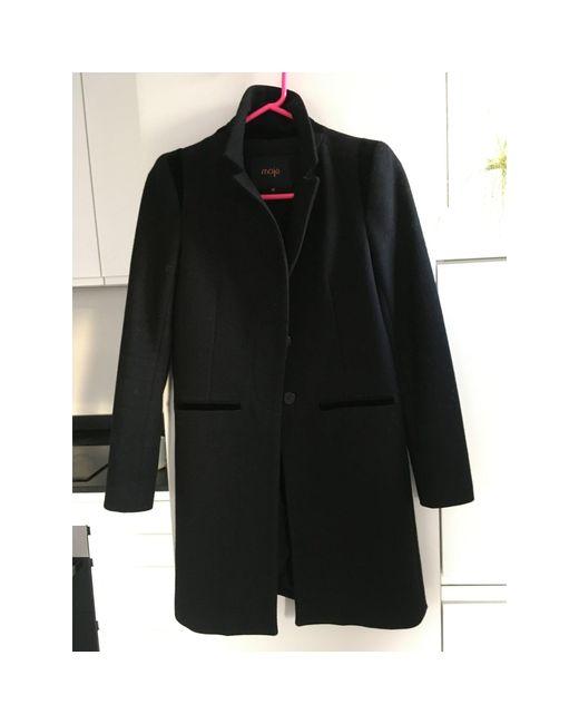 Manteau laine noir Maje en coloris Black