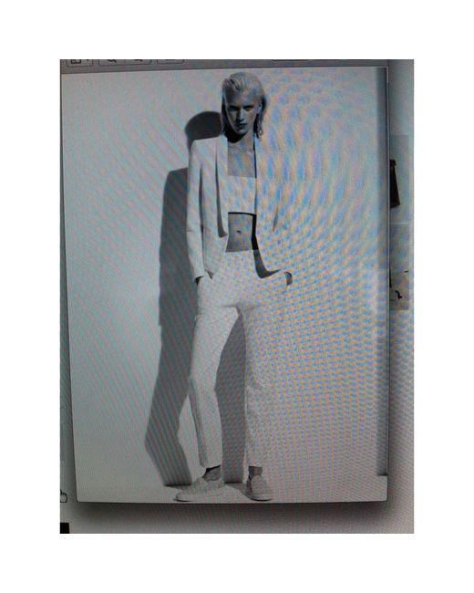 Sandro Pantalon droit coton blanc femme