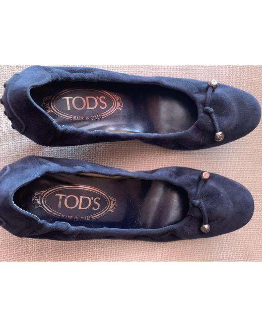 Ballerines nubuck bleu Tod's en coloris Blue